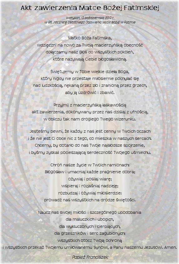 Akt zawierzenia Matce Bożej Fatimskiej - październik 2013