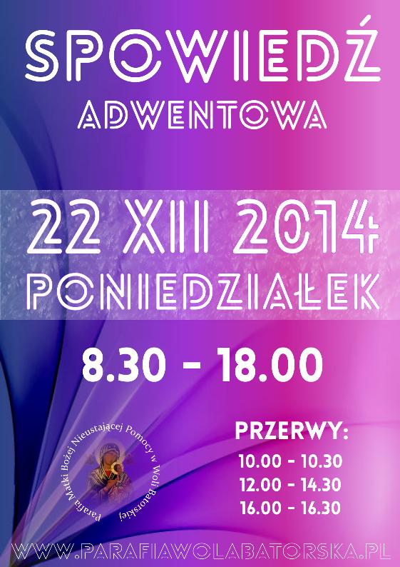 Spowiedź Adwentowa 2014 - plakat mały